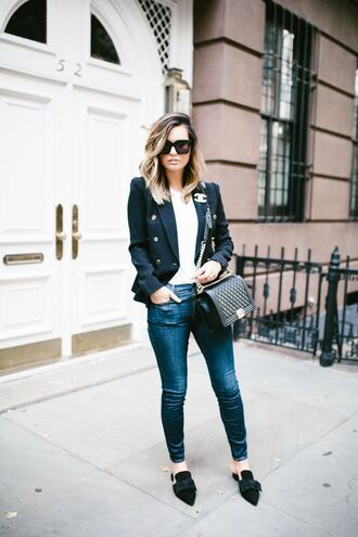 for all things lovely blogger jacket t-shirt jeans bag sunglasses jewels work outfits blue jeans top white top black sunglasses black bag chanel chanel bag