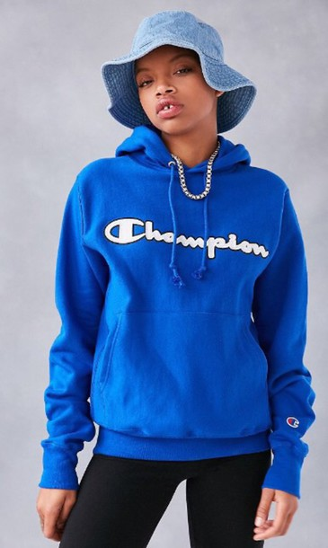 Sweater: urban outfitters, champion hoodie, royal blue, champion ...