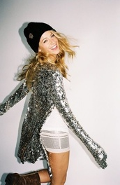 jacket,sparkle,cardigan,silver,skirt,dress