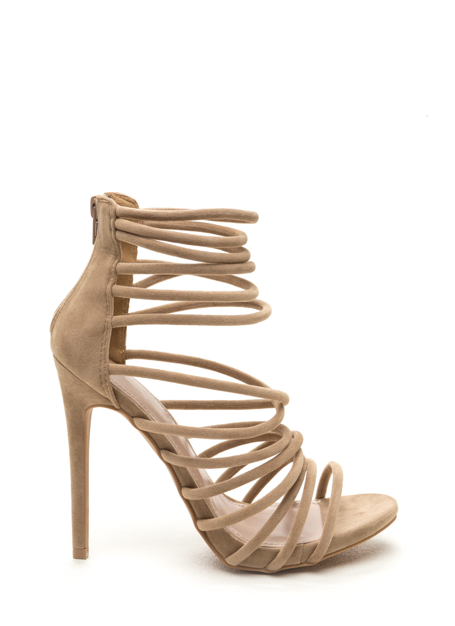 be0978ffd37e Make A Wish Strappy Faux Suede Heels BLACK CHESTNUT NUDE ...