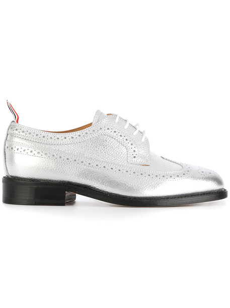 Thom Browne women classic leather grey metallic shoes