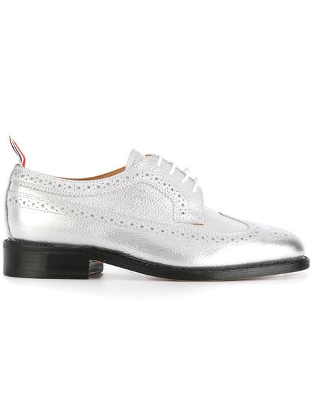 women classic leather grey metallic shoes