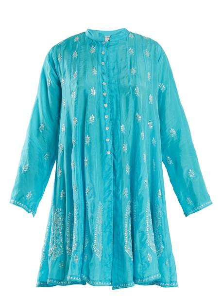 dress silk dress embellished silk blue