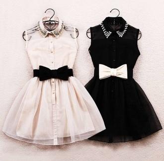 dress pretty bow tumblr collar