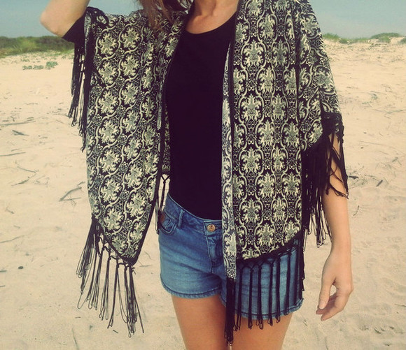 sun vintage top beach retro jacket kimono tassels tassel kimono sweater fringes cardigan winter/autumn shorts vest vest top