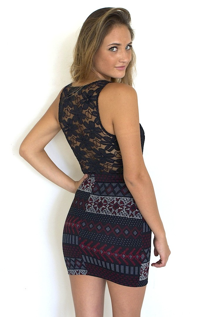 Black Tribal and Lace Bodycon Dress