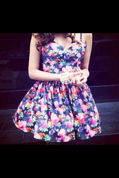 dress navy pink floral cute
