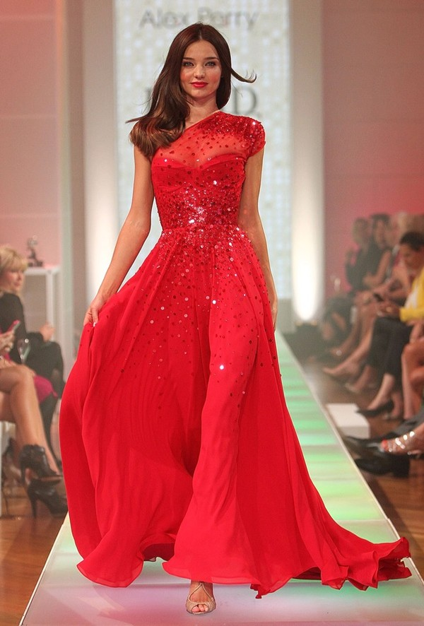 dress miranda kerr red dress red prom dress sparkly dress one shoulder dresses oneshoulder dress chiffon dress chiffon dress see through dress prom dress long prom dress
