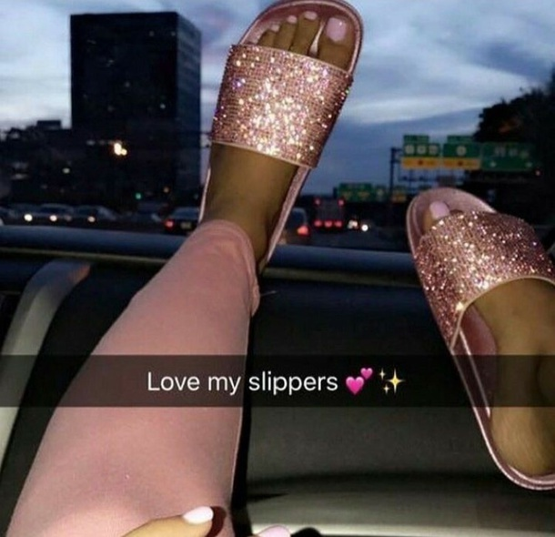 shoes rose gold sliders slide shoes rhinestones sparkle sparkle diamante cute girly pink