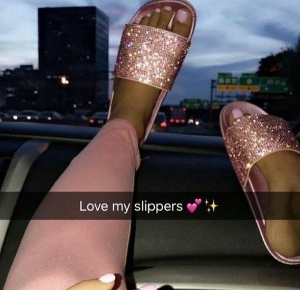f23d27f928e5de shoes rose gold sliders slide shoes rhinestones sparkle sparkle diamante  cute girly pink