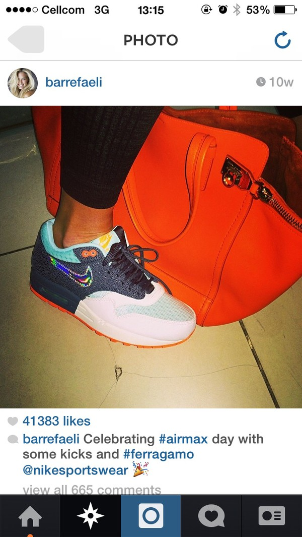 shoes air max bag bar refaeli white nike orange