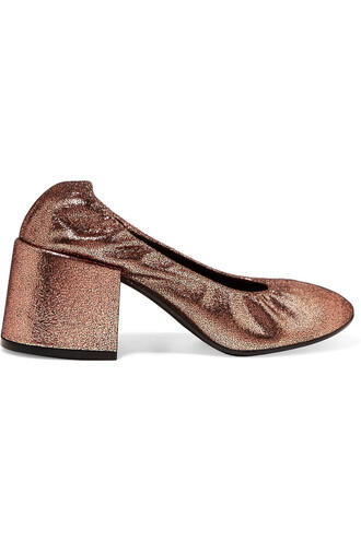metallic pumps leather copper shoes