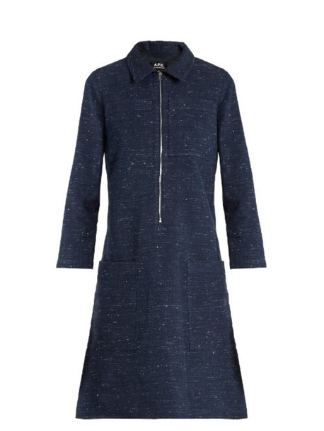A.P.C. Zira cotton and linen-blend dress in navy