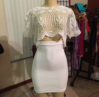blouse white knitted knitted top white t-shirt crop tops white crop tops