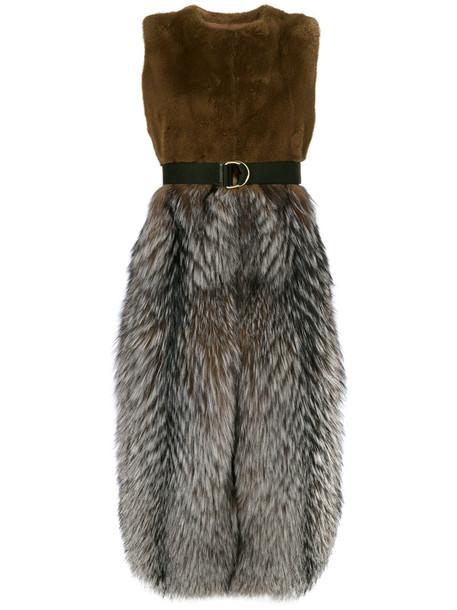 coat sleeveless coat sleeveless fur fox women leather brown