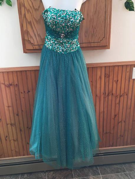 dress teal dress prom dress sequins tulle skirt tulle dress tulle skirt blue dress teal princess dress sequin dress blue homecoming dress hot strappless dress