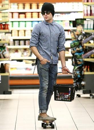jeans zac efron menswear denim shirt mens jeans beanie hipster menswear mens slip ons