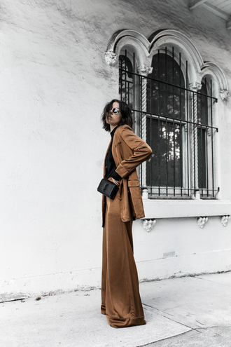 modern legacy blogger suit blazer brown pants wide-leg pants ysl bag minimalist tailoring rust fall colors work outfits office outfits flare pants mini bag matching set