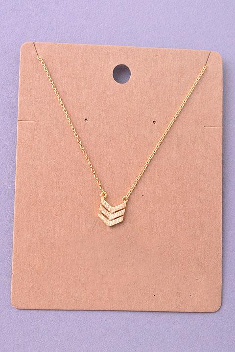 Dainty triple chevron arrow pendant necklace