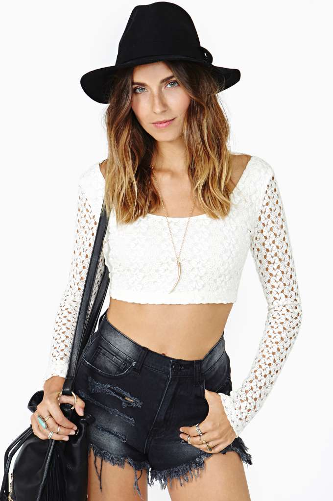 Restless Lace Crop Top in  Clothes Tops Cropped at Nasty Gal