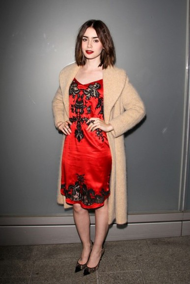 lily collins dress coat
