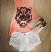 shoes,studs,beautiful,shirt,tank top,top,shorts,jeans,summer,tiger,white,studded,clothes,orange shirt,High waisted shorts,t-shirt