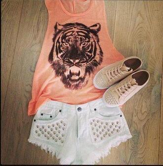 shirt top shoes shorts tank top summer outfits beautiful jeans studs white tiger print studs clothes orange shirt high wasted shorts t-shirt