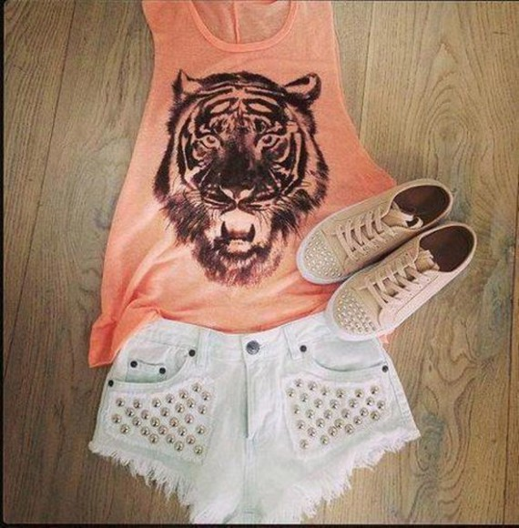 shorts orange shirt high wasted shorts shoes studs beautiful shirt tank top top jeans summer outfits tiger print white studs clothes t-shirt