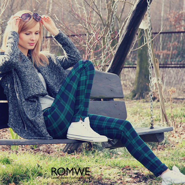 ROMWE | ROMWE Check Print Zippered Green Slim Pants, The Latest Street Fashion