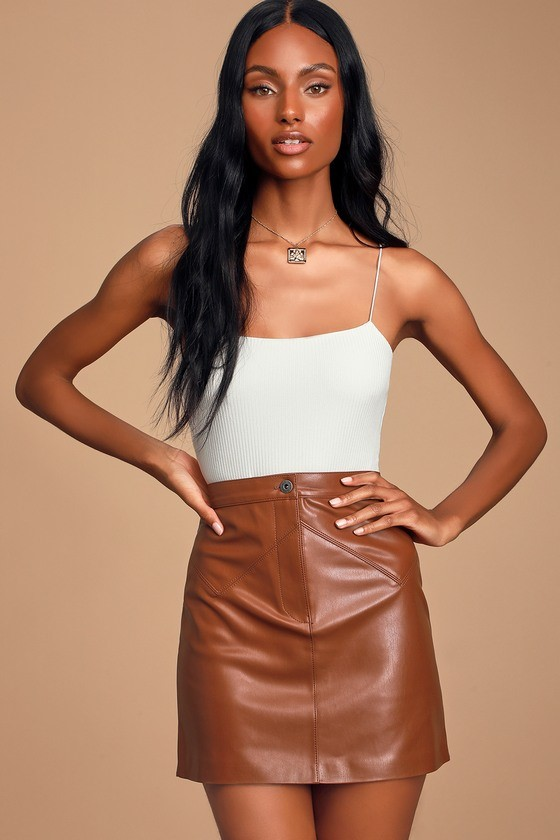 Keep Livin Rust Brown Vegan Leather Mini Skirt
