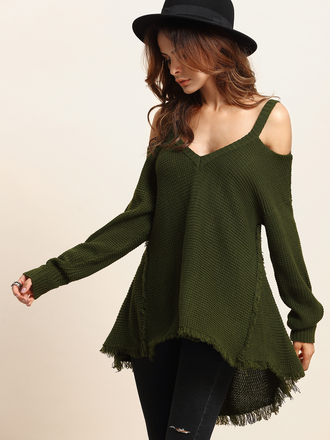 sweater fall outfits green fashion trendy long sleeves fall sweater sheinside