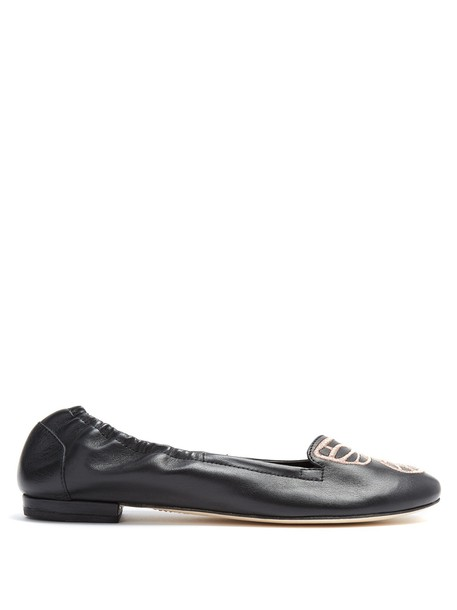 butterfly flats leather flats leather gold black shoes