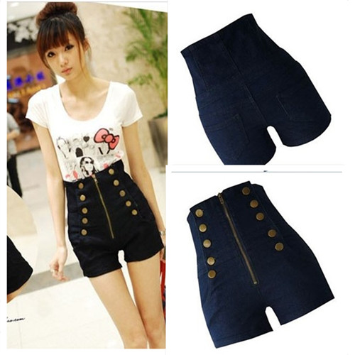 Women's Double Breasted Zipper Vintage High Waist Shorts Jeans ...