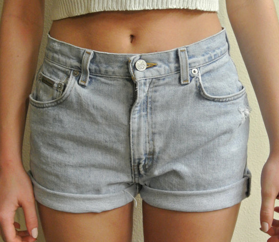 Waisted Shorts Calvin Klein Cuffed Denim Shorts by ShopMilky