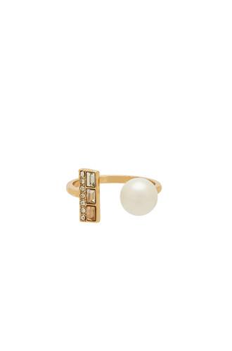 pearl ring metallic gold jewels