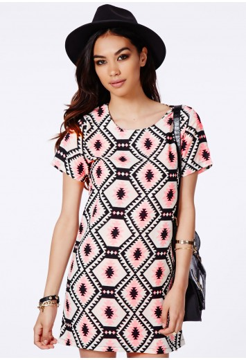 Suzanne Tribal Mini Dress - Dresses - Shift Dresses - Missguided