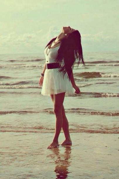Dress: white dress, white, summer dress, jewelry, jewels ...