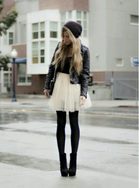 skirt tulle skirt leather jacket tights