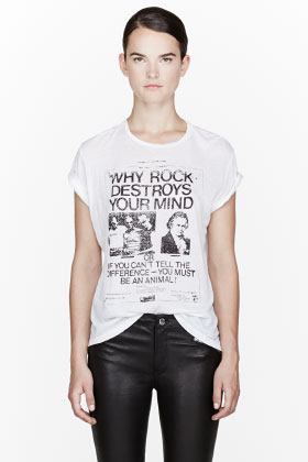 R13 White Must Be An Animal Boyfriend T-shirt for women | SSENSE