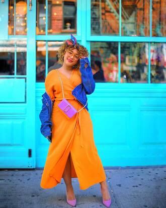 shoes dress purple bag pumps purple pumps orange dress bag crossbody bag denim jacket denim glasses head scarf