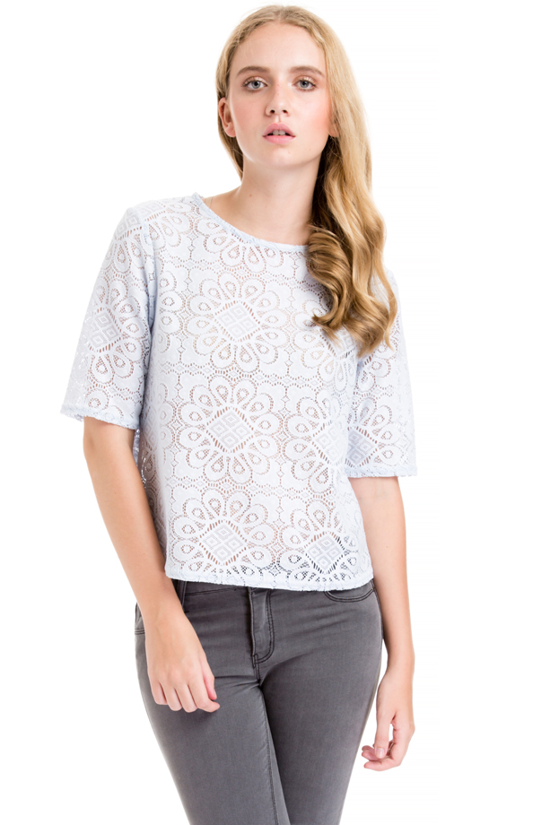 Pastel Blue Lace Blouse : Just For 5Pounds