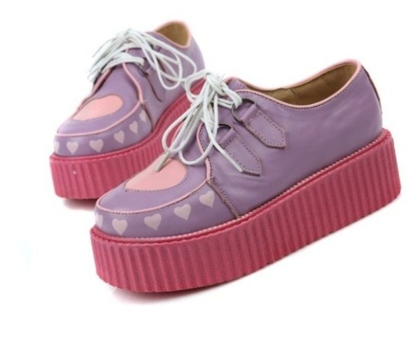 shoes pastel pastel goth decora fairy kei pink lavender heart crepers creepers grunge