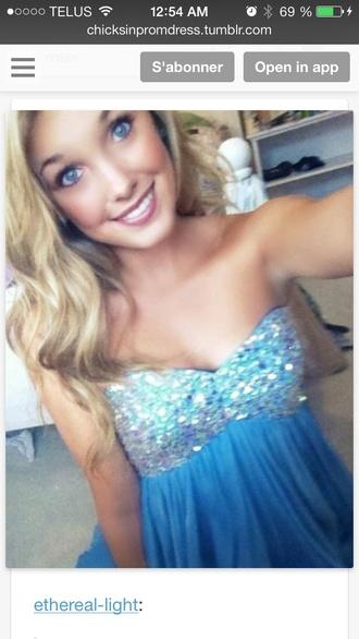 dress prom dress glitter blue dress turquoise dress strapless dress prom blonde hair pretty