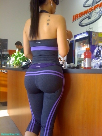 pants yoga pants purple spandex tank top sportswear