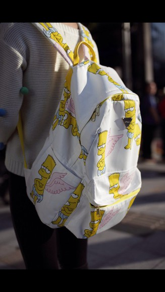bag backpack back to school bart the simpsons style swag cool bart simpson