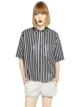 shirt leather shirt leather navy white top