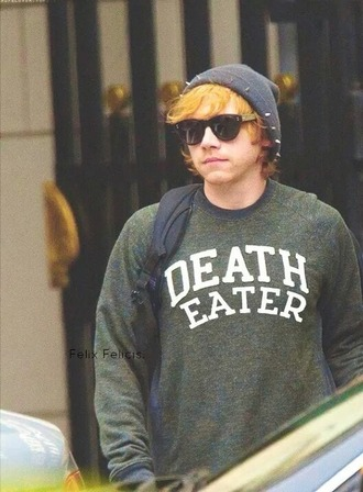 rupert grint harry potter and the deathly hallows harry potter green sweater shirt blue comfy comfysweater warm warm sweater high neck hogwarts hogwarts sweatshirt high neck sweater white letters mens sweater menswear ron weasley hat