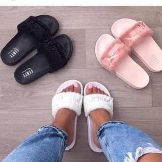 shoes flats slippers puma pink white black puma slides slide shoes fluffy