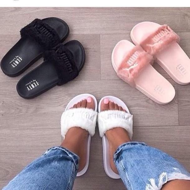a03734e2547e shoes flats slippers puma pink white black puma slides slide shoes fluffy  fenty slide shoes pink