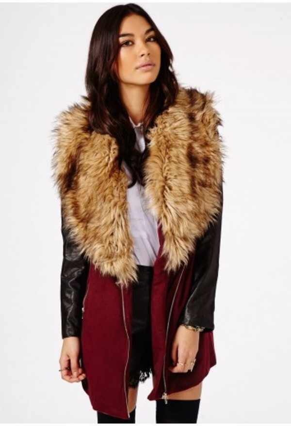 Fur Stole Collar Coat With Leather Look Sleeves & Panels in Black